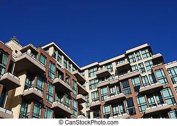 apartamento, moderno, detalle, edificio