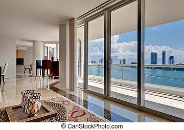 apartamento, moderno, vista oceánica