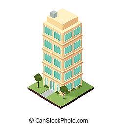 apartamento, tres, edificio, dimensional