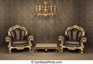 apartamento, viejo, furniture., oro, marco, lujoso, interior., sillones, barroco, de lujo