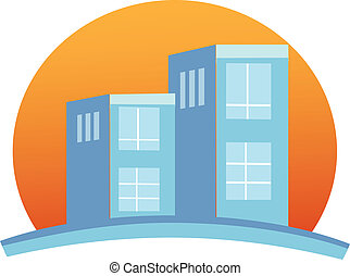 Apartamentos construyendo logotipo