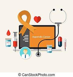 Apendicitis cancerígena apendicitis. Enfermedad médica de la cinta naranja