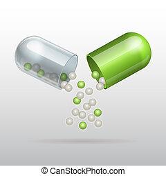 apertura, cápsula, médico, verde