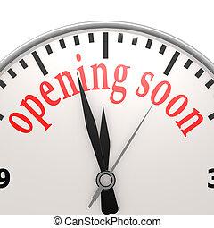 apertura, pronto, reloj