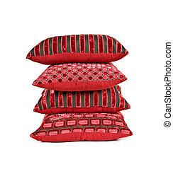 apilado, cojines, arriba, plano de fondo, rojo blanco