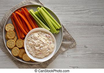 apio, plano, inmersión, casero, queso, zanahorias, above., pimiento, space., vista., cima, copia, arriba, galletas, colocar