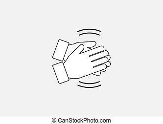aplauda, plano, ilustración, vector, aplauso, manos, icon., design., ovación