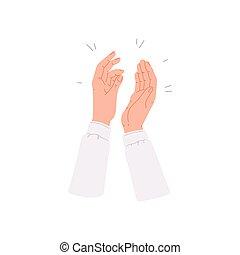 aplaudiendo, aprecio, aplauda, palmas, aprobación, aplauso, manos humanas