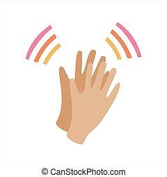 aplaudir, su, style., gesto, saludos, aplauso, aprobación, hands., plano