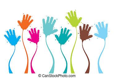 aplauso, divertido, aplaudir, diseño, plano de fondo, manos, su