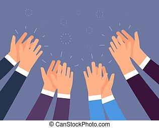 Aplausos. Gente aplaudiendo. Manos alegres, ovación y el concepto de éxito empresarial