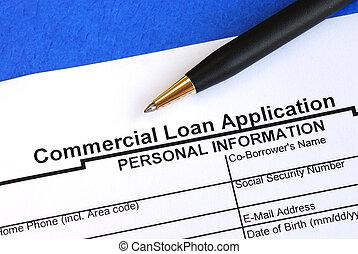 aplicación, préstamo, comercial