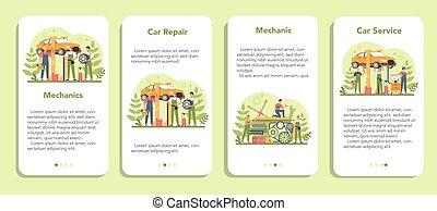 aplicación, set., reparación, servicio, bandera, móvil, coche, gente, utilizar