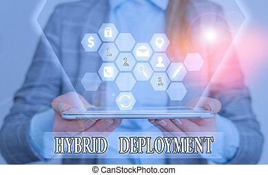 aplicaciones, letra de mano, foto, texto, híbrido, actuación, combinación, onpremises, conceptual, data., deployment., o, empresa / negocio