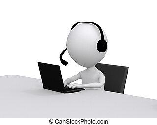 Apoyo al cliente. Un personaje humano 3D con un Headsets y una Computadora Laptop