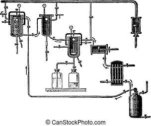 Apparatus para extraer perfumes, grabado antiguo.