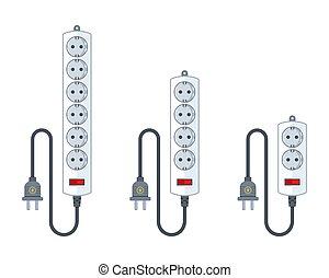 appliances., conjunto, extender, extensión, diferente, cuerda, lengths., eléctrico, casa