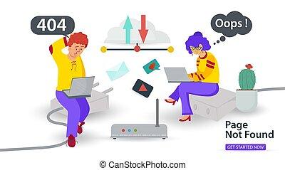 apps, problemas, móvil, cable, vector, oops, error, sentado, internet, bandera, 404, fundar, computadoras portátiles, ilustración, conexión, tipo, plano, no, sitios web, página, niña