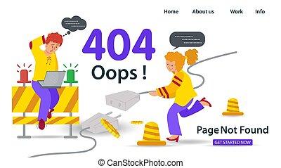 apps, tipo, plano, errores, tenencia, oops, no, móvil, sitios web, 404, página, error, anner, sentado, conexión, problemas, niña, ilustración, computador portatil, internet, vector, fundar, cable