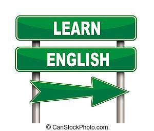 Aprendan el letrero verde inglés