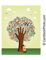 Aprende a leer en la mano del árbol de la escuela