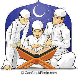 aprender, leer, th, al-quran, niños