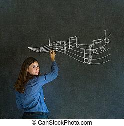Aprender mujer de negocios musicales o maestra de tiza