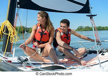 aprendiz, pareja, joven, navegación