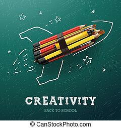 Aprendizaje de creatividad. Cohete con lápices