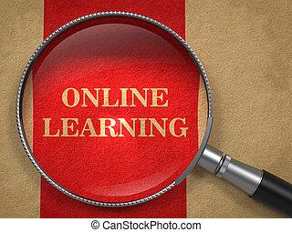 Aprendizaje en línea - aumento concepto de vidrio.