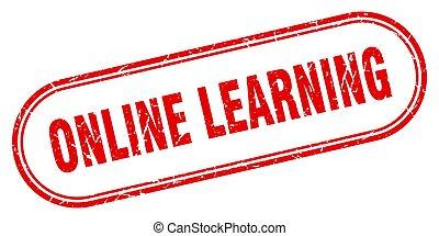 aprendizaje, grunge, en línea, etiqueta, stamp., redondeado, signo., textured