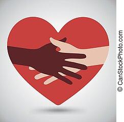 Apretón de manos, manos en el corazón rojo