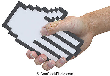 apretón de manos, sacudida, pixel, cursor, tecnología, usuario, manos, amistoso