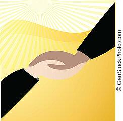 Apretando manos al vector de logotipo