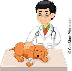 Apuesto veterinario de dibujos animados perro con sonrisa