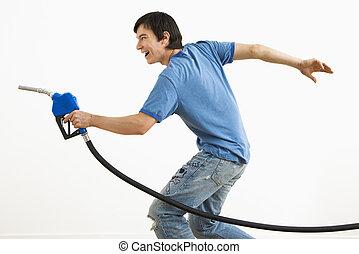 apuntar, gas, nozzle., hombre