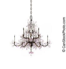 araña de luces, lujo, vidrio