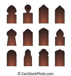 arabesco, set., forma, islam, ventana, icono, arco, vector, puerta, silueta, puerta, árabe, árabe