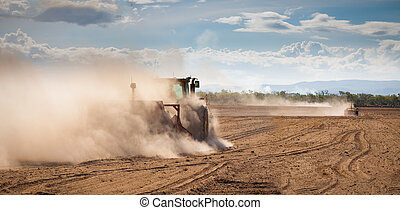 arada, tierra, seco, tractor