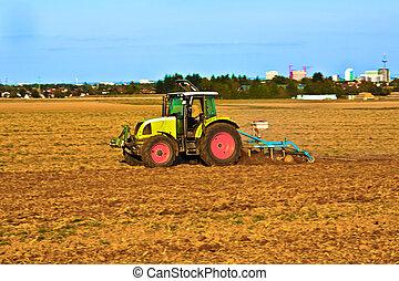 arado, agricultura, tractor, escala, pequeño