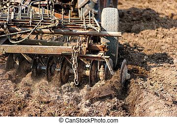 arado, primer plano, cultivar, utilizar, cosechar, agricultura