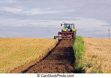 arado, tractor, tierra, cosechado, campo, agrícola