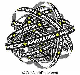 arbitraje, trampa, interminable, ciclo, ilustración, lazo, proceso, 3d