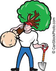 Arborista Jardinero que lleva dibujos animados