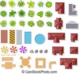 arbustos, paisaje, vector, aéreo, casas, vista, aislado, cima, piscina, árboles, arquitectónico, conjunto, plan, bancos, verde, elements., jardín