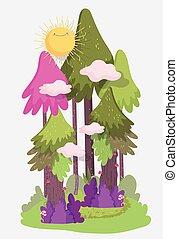 arbustos, tema, sol, pasto o césped, follaje, paisaje de la naturaleza, nubes, bosque, árboles
