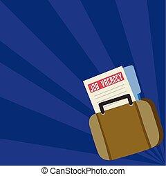 Archivo de vacantes y carpeta en una bolsa. Una carpeta de solicitudes metida en un maletín. Anuncio para la oportunidad de empleo. Salto de sol en dos tonos color pastel fondo.