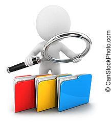 archivos, blanco, 3d, examina, gente