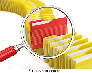 archivos, carpetas, loupe, search., fondo., blanco