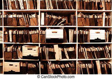Archivos en estantería